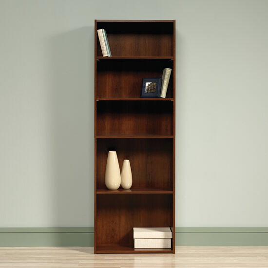 Transitional Adjustable Shelf Open Bookcase in Brook Cherry