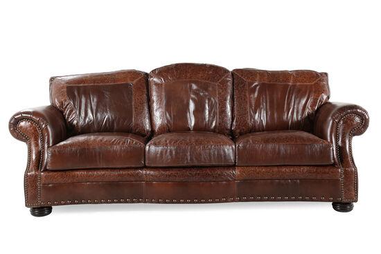"""Paisley-Printed Leather 100"""" Sofa In Dark Oak"""