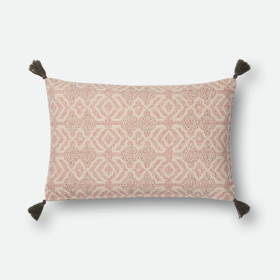 """Contemporary 13""""x21"""" Cover w/Poly Pillow in Natural/Pink"""