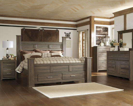 """68"""" Planked Two-Drawer King Storage Bed in Aged Brown"""