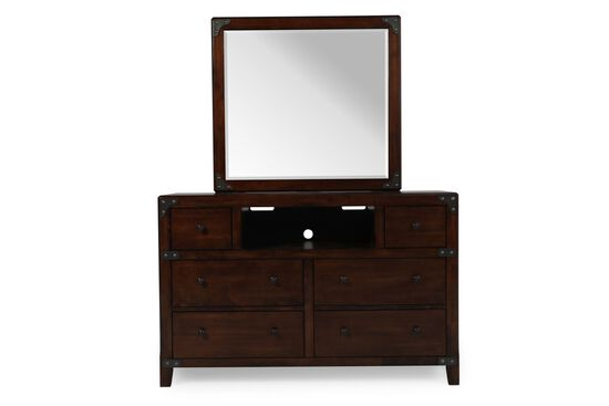 Six-Drawer Casual Youth Dresser and Mirror in Dark Brown
