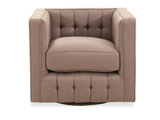 Contemporary Button-Tufted Swivel Glider Chair in Brown