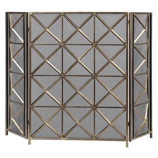 Fireplace Screen in Gold Champagne