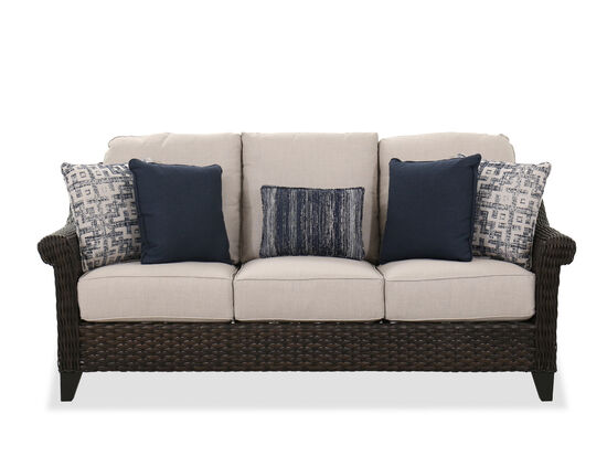 "Contemporary 77"" Patio Sofa in Dark Brown"
