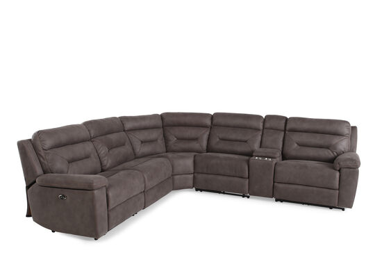"Six-Piece Microfiber 168"" Power Reclining Sectional in Gray"