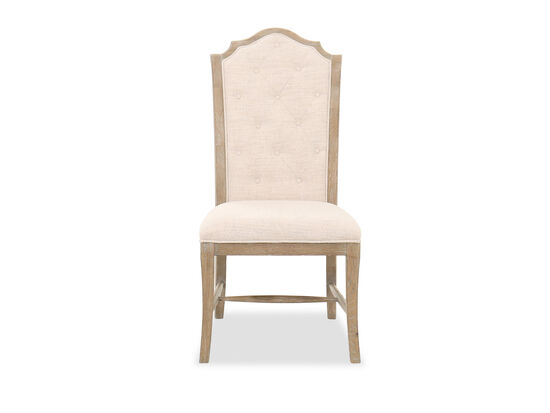 """Casual 43"""" Button-Tufted Side Chair in Beige"""