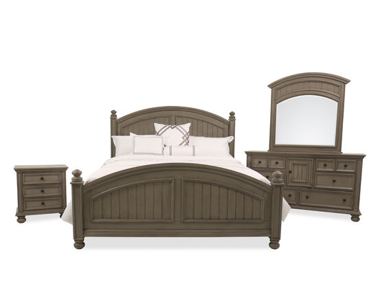 Four-Piece Casual King Bed Set in Khaki Gray