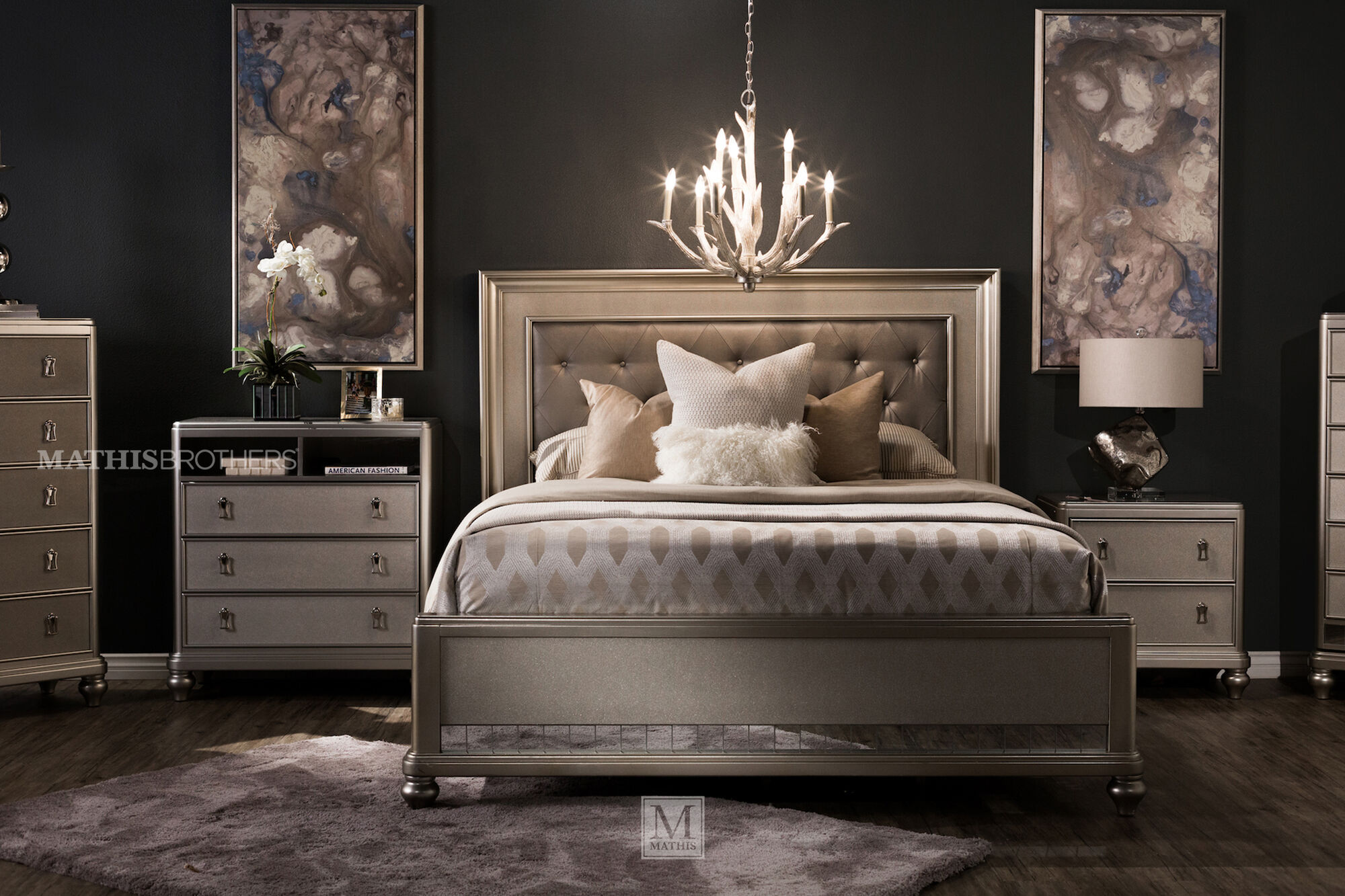 Four Piece Transitional Bedroom Set In Platinum Mathis Brothers