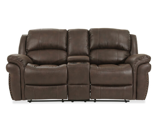 "Reclining Contemporary 86"" Console Loveseat in Brown"