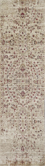 Traditional Power-Loomed 2.6 x 8 Runner Rug in Ivory