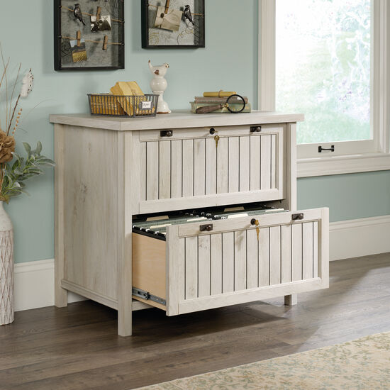 Two-Drawer Contemporary Lateral File in Chalked Chestnut