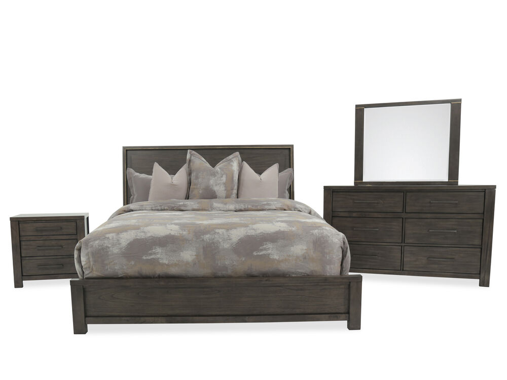 FourPiece Contemporary Bedroom Set In Dark Gray Mathis Brothers Cool Black Contemporary Bedroom Set