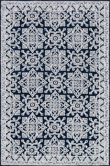 "Contemporary 2'-3""x3'-9"" Rug in Midnight/Silver"