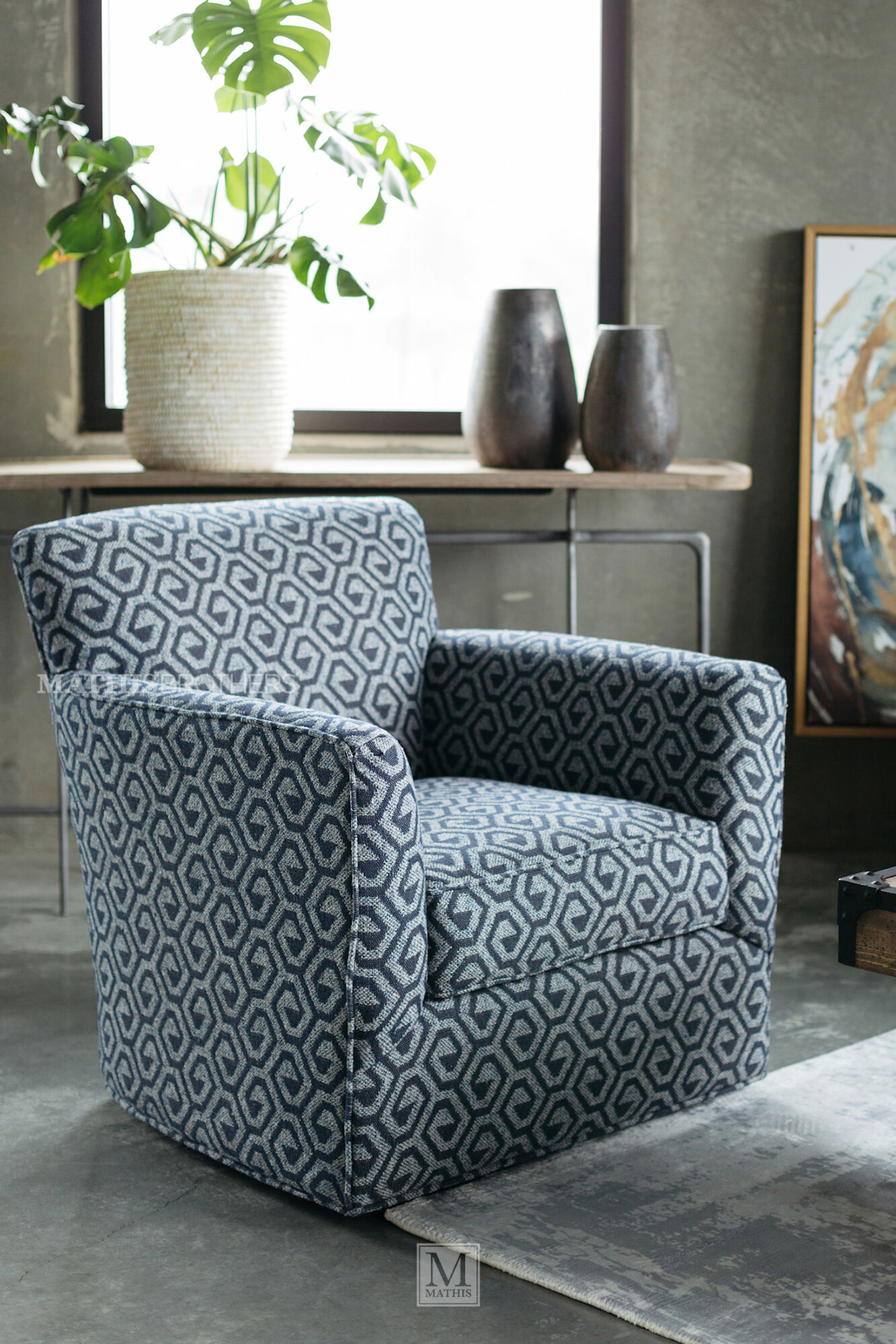 Geometric Patterned Contemporary 34 Quot Swivel Chair In Gray
