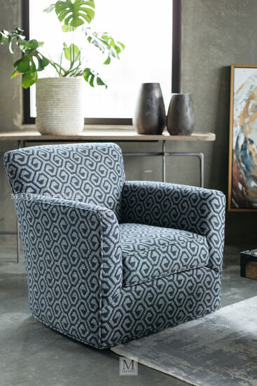 Geometric Patterned Contemporary 34 Swivel Chair In Gray Mathis Brothers Furniture