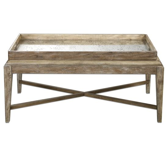 Mirror Top Coffee Table in Light Gray