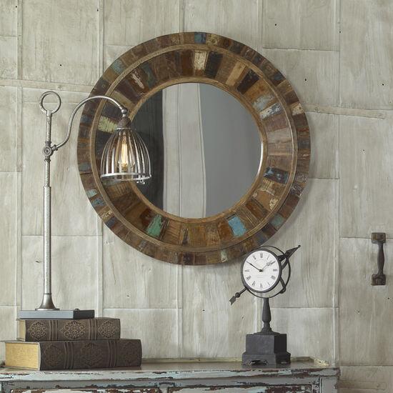 """32"""" Round Mango Wood Mirror"""