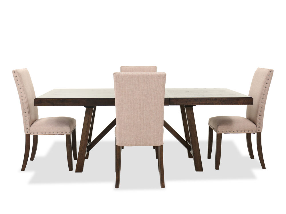 Five-Piece Rectangular Extendable Table and Side Chair Set in Chocolate