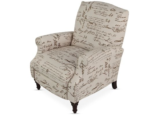 """Calligraphic Traditional 32"""" High Leg Recliner"""