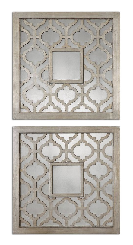 "Two-Piece 20"" Trellis Accent Mirrors in Antiqued Silver Leaf"
