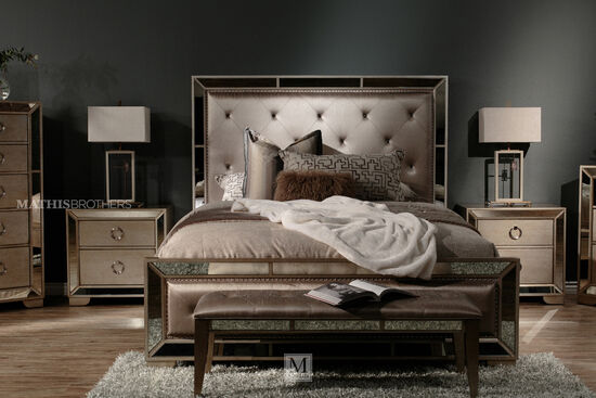 Four-Piece Contemporary Bedroom Set in Bronze