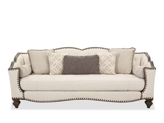 Traditional Single Cushion Sofa in Cream