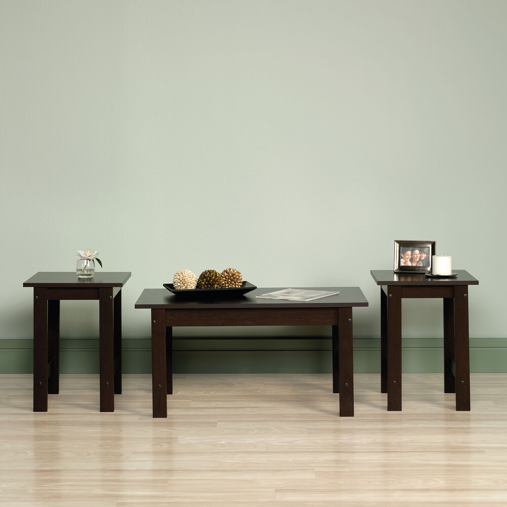 Three piece casual table set in cinnamon cherry mathis - 3 piece table set for living room ...