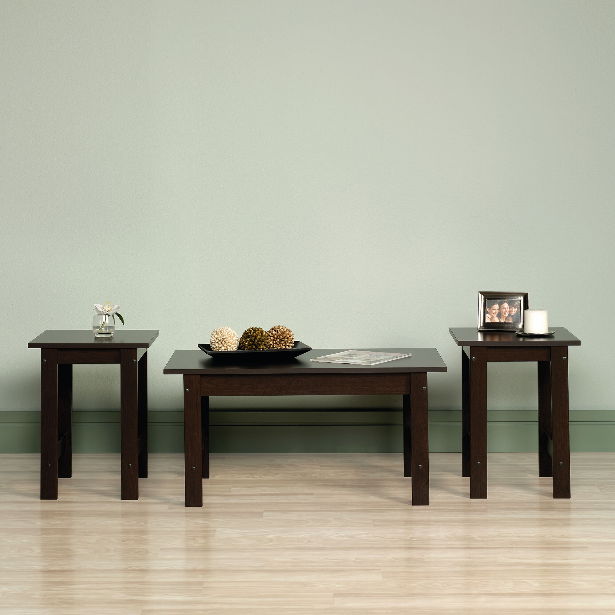 Three piece casual table set in cinnamon cherry mathis - Three piece living room table set ...