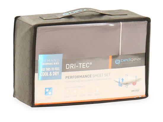 Three-Piece Dri-Tec Twin Performance Sheet Set in Gray