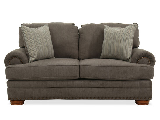 """Nailhead-Trimmed Contemporary 74.5"""" Loveseat in Gray"""