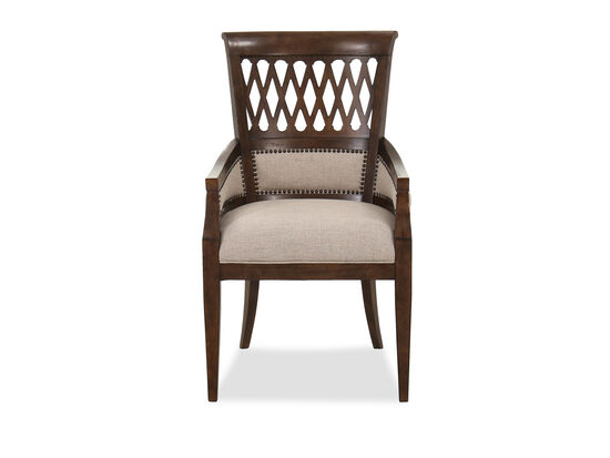 Nailhead-Accented Traditional Dining Chair in Beige