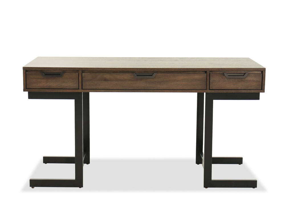 "60"" Mid-Century Modern Three-Drawer Writing Desk in Gray"