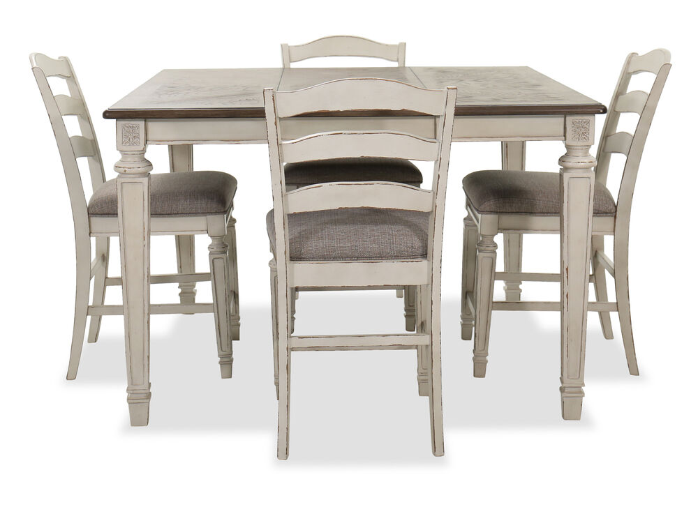 Navy And Gold Dining Room, Realyn Five Piece Counter Height Dining Room Table And Stools Set Mathis Brothers Furniture