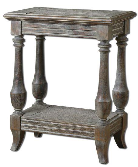 Turned Legs Side Table in Waxed Limestone
