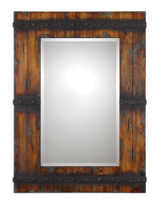 "Distressed 43"" Accent Mirror in Antiqued Mahogany"