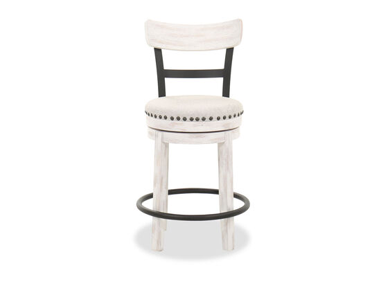 Nailhead-Trimmed Industrial 37'' Counter Height Barstool in White