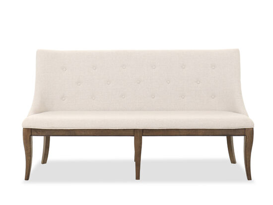 """Traditional 68"""" Button Tufted Dining Bench in Brown"""