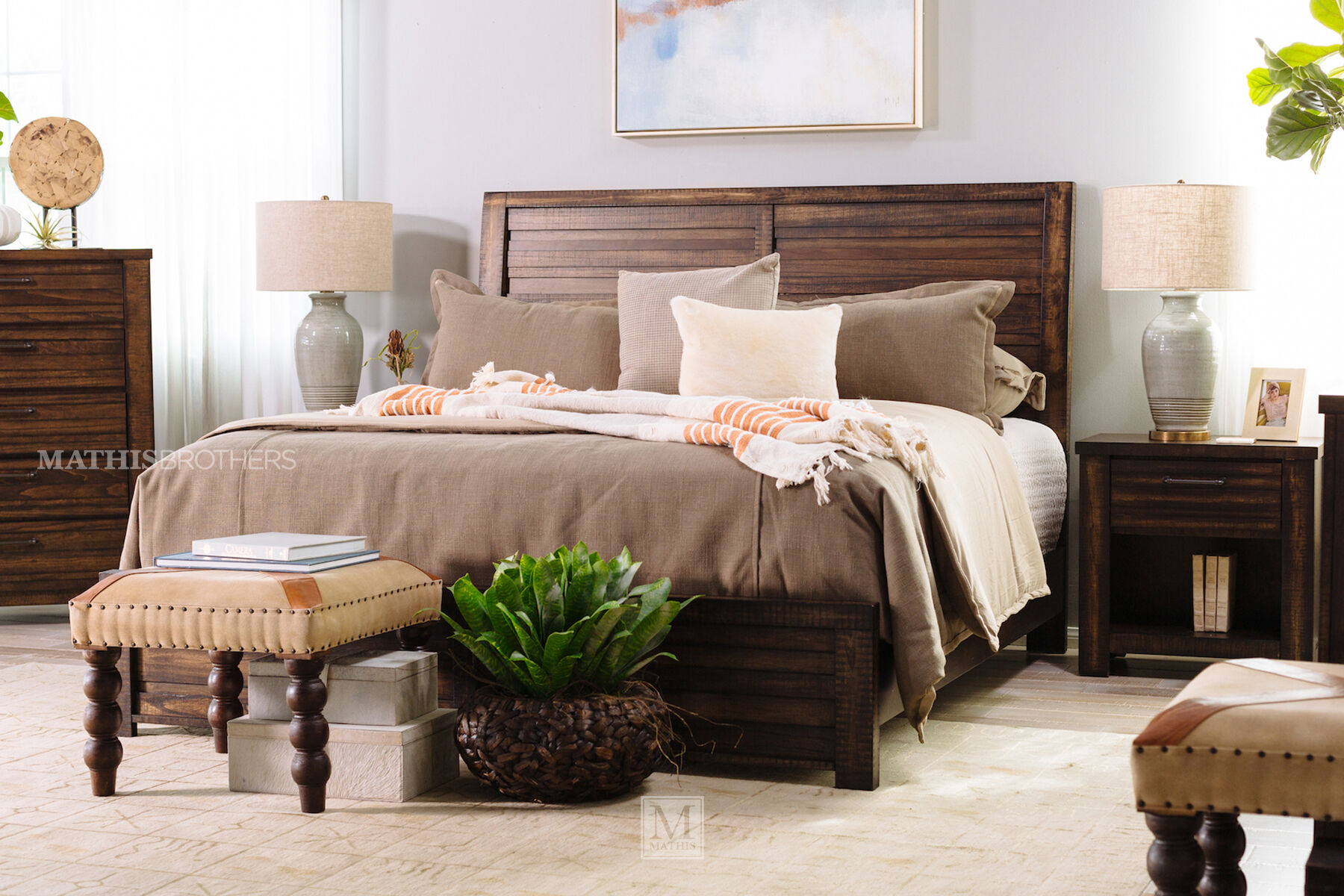 Four Piece Traditional Bedroom Set In Brown Tobacco