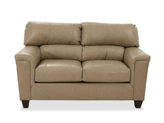 "Casual 65"" Leather Loveseat in Brown"