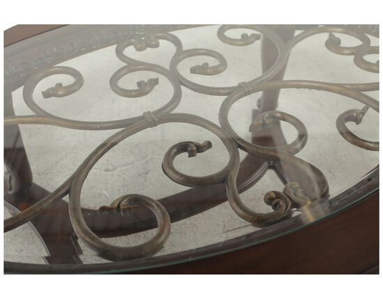 Glass-Insert Oval Traditional Cocktail Tablein Brown