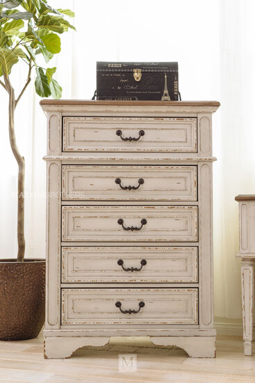 Traditional Youth Five-Drawer Chest in Chipped White