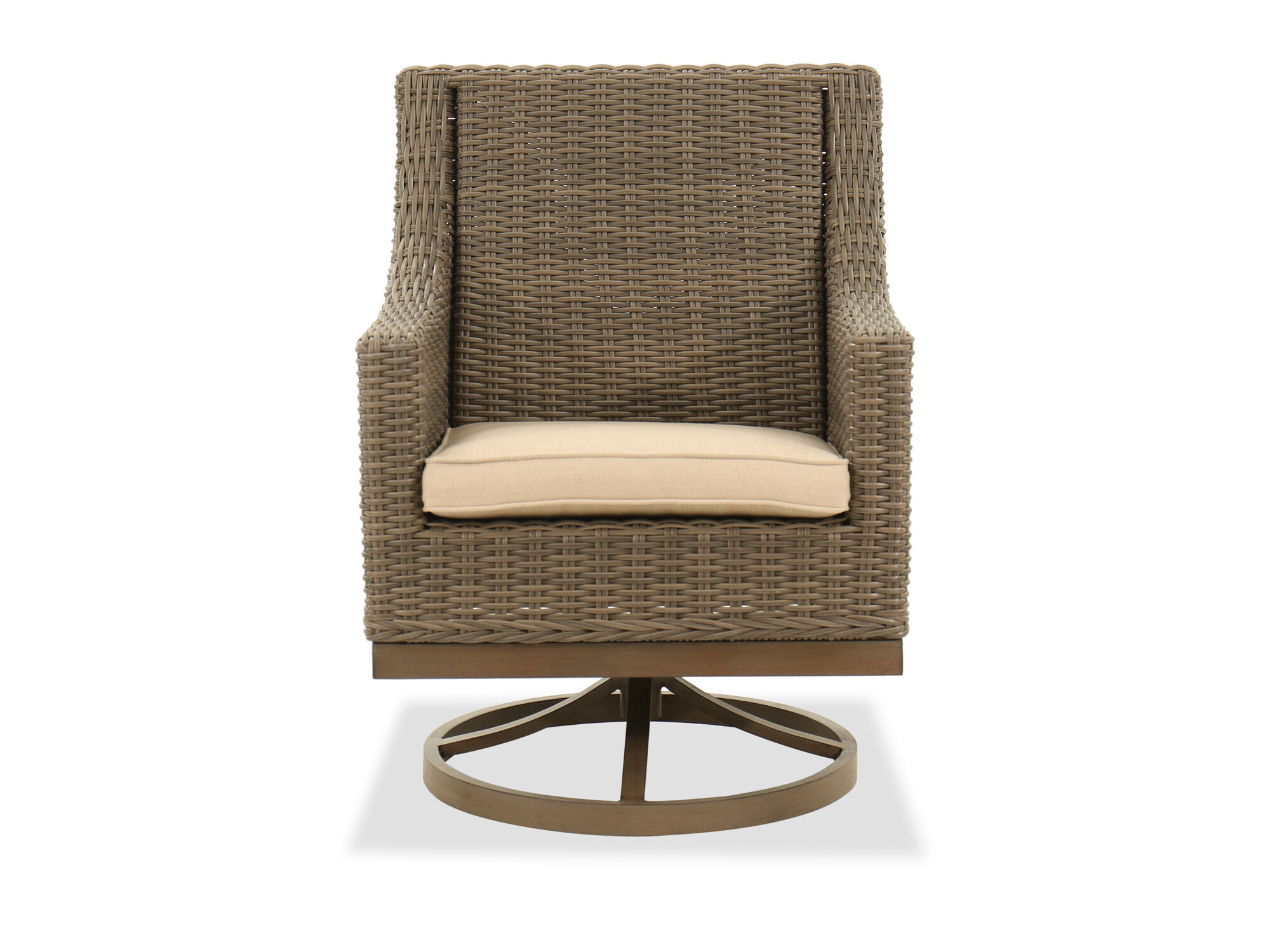 Swivel Rocker Dining Chair In Aged Teak Mathis Brothers