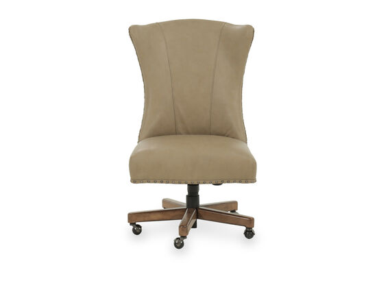 Leather Nailhead-Trimmed Swivel Desk Chair in Beige