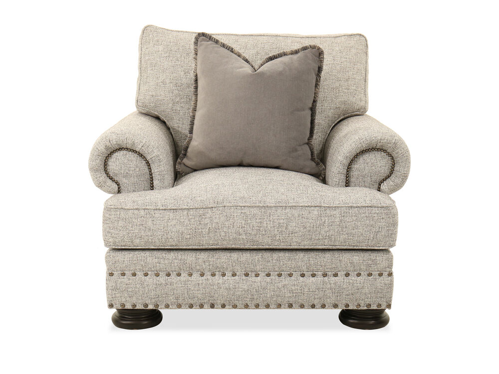 """Nailhead-Accented 46"""" Chair in Gray"""