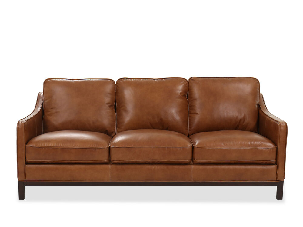 Casual Leather Sofa In Caramel Mathis