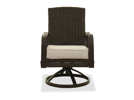 Contemporary Woven Swivel Chair in Dark Brown