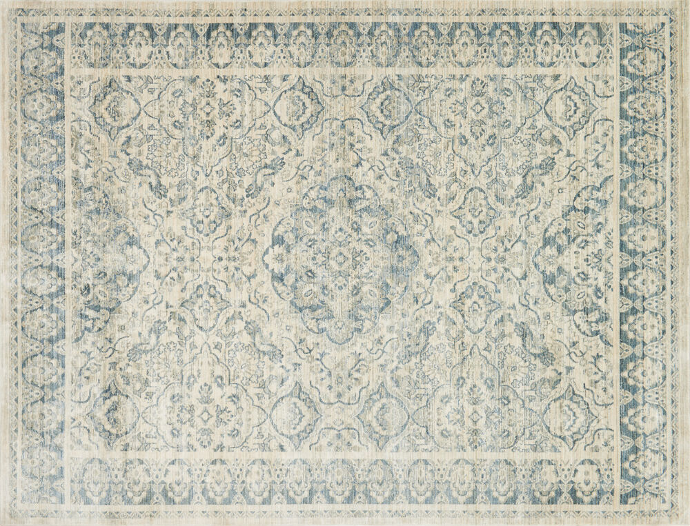 ED Ellen DeGeneres Crafted by Loloi Trousdale Power Loomed Rug in Ivory/Blue