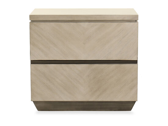 Two-Drawer Casual Nightstand in Brown
