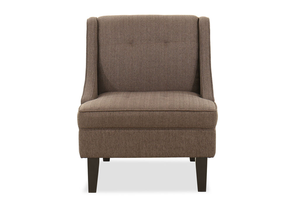 """Tufted Contemporary 28"""" Accent Chair in Dark Rust Gray"""