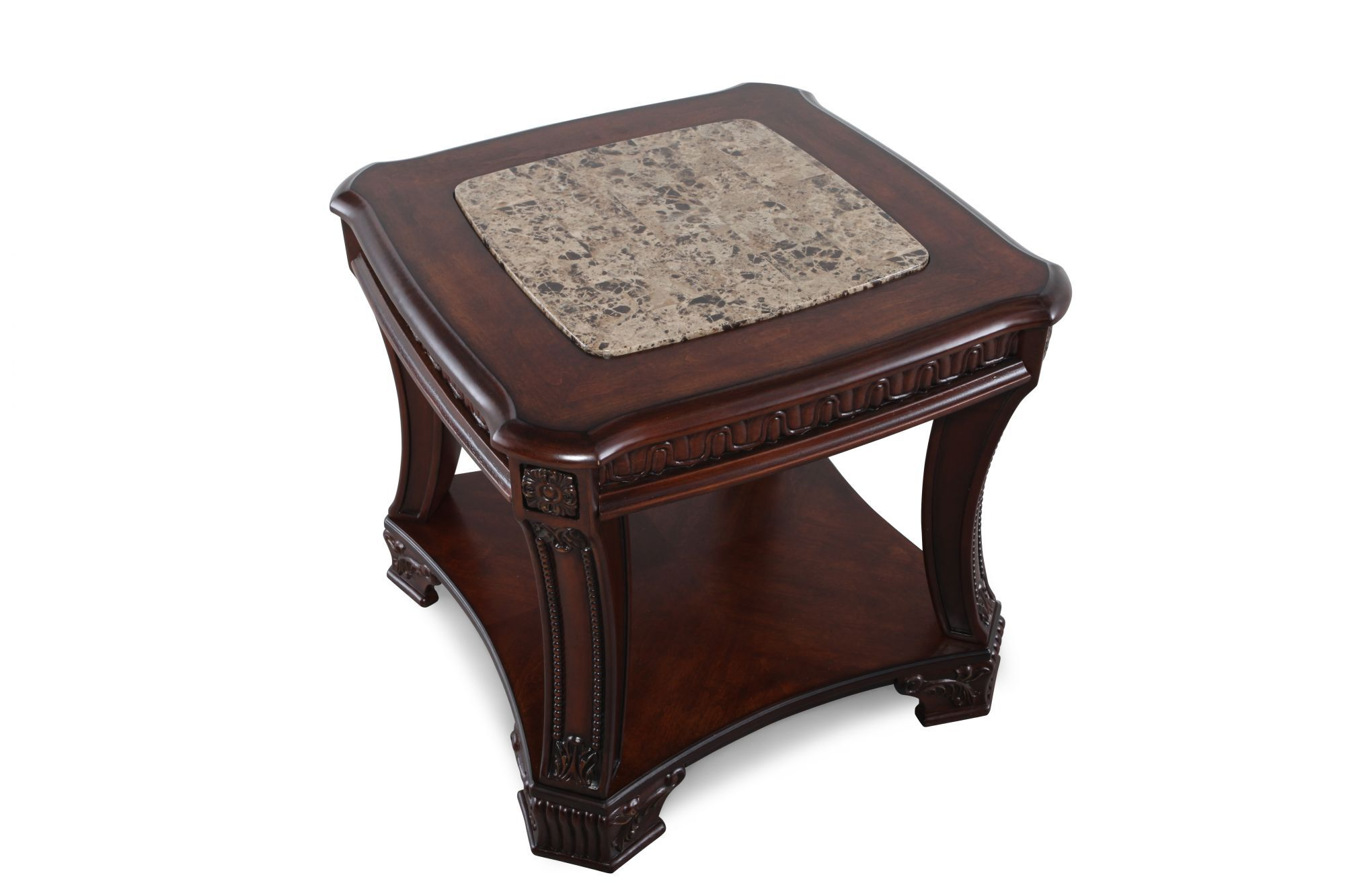 Square Traditional End Tableu0026nbsp;in Dark Cherry Stain